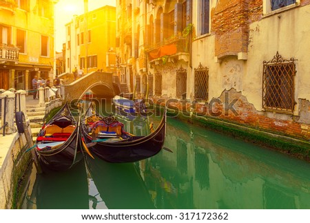 stock photo canal with gondolas in venice italy architecture and landmarks of venice venice postcard with 317172362 - Каталог — Фотообои «Венеция»