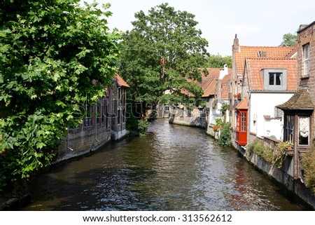 canal with houses in Bruegge, Belgium