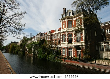 Canal with traditional architecture (City: The Hague, The Netherlands, Europe)