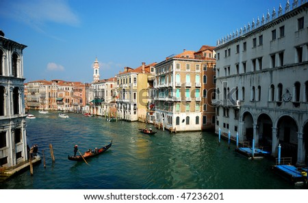 Canale Grande - Grand Canal in Venice, Italy - view from a bridge - stock photo