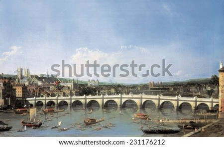 CANALETTO, Giovanni Antonio Canal, (1697-1768), Westminster Bridge from the North, 1740s, Baroque art