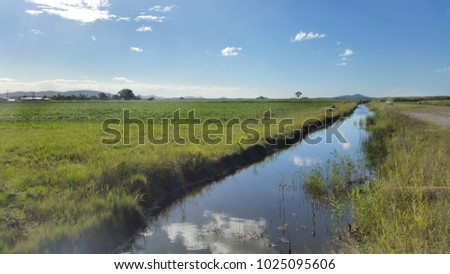 Canals in Agricultural district, Queensland Australia