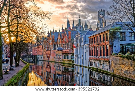 Canals of Bruges (Brugge), Belgium. Winter evening view. - stock photo