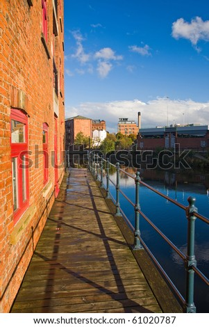 Canalside old house in Leeds, UK - stock photo
