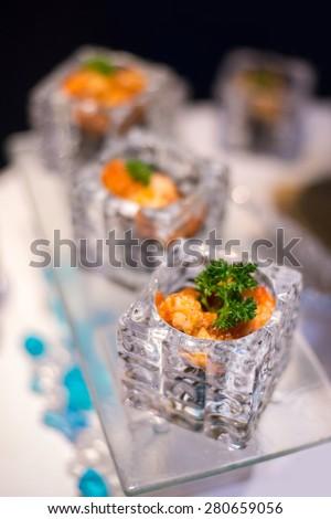 canape selection on slate platter - Shrimp potato sauce - stock photo