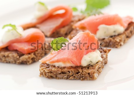 Canape with Salmon - stock photo
