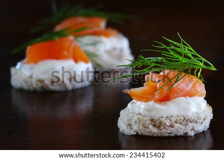 Smoked salmon canapes stock photo 156880718 shutterstock for Canape garnishes
