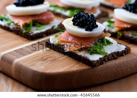 Canapes salmon caviar stock photo 41645566 shutterstock for Canape with caviar