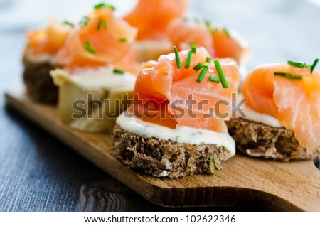 Mini canapes smoked salmon stock photo 217917595 for Smoked salmon cream cheese canape