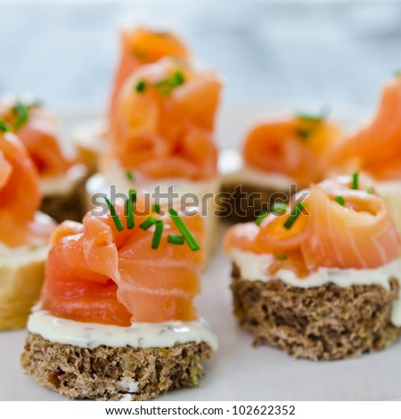 Smoked salmon sandwich stock images royalty free images for Smoked salmon cream cheese canape