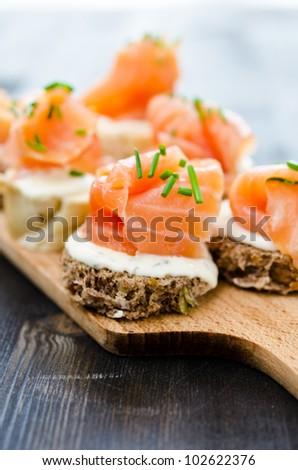 Mini canapes smoked salmon stock photo 217917595 for Smoked salmon cream cheese canape