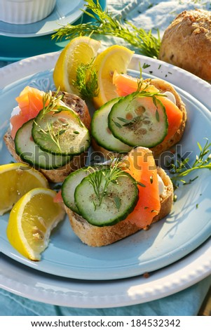 Canapes with smoked salmon, fresh cucumber and dill - stock photo