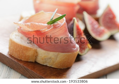 canapes with spanish jamon, spanish traditional food