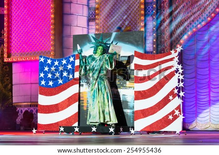 CANARY ISLAND, SPAIN - FEBRUARY 20, 2015: Drag Dafne del Giorgio as Statue of Liberty with costume from designer Dimas Trujillo performing onstage during Las Palmas carnival Drag Queen Gala. - stock photo