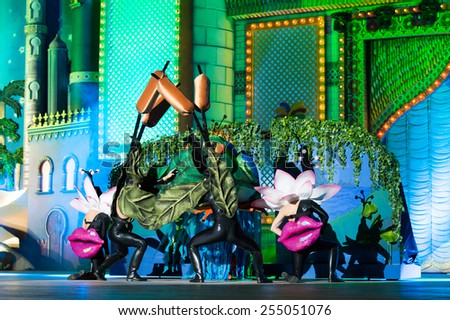 CANARY ISLAND, SPAIN - FEBRUARY 20, 2015: Drag Noa opening show onstage during city of Las Palmas carnival One Thousand and One Nights opening show of Drag Queen Gala. - stock photo
