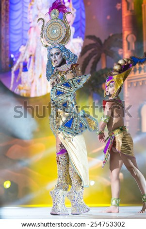 CANARY ISLAND, SPAIN - FEBRUARY 20, 2015: Drag Sethlas with Cleopatra costume from designer Willie Diaz performing onstage during city of Las Palmas carnival Drag Queen Gala. - stock photo