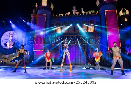 CANARY ISLAND; SPAIN - FEBRUARY 20; 2015: Drag Valkiria winner of the drag queen contest during Las Palmas Drag Queen Gala. Drag Valkiria and his assistants performing their show. - stock photo