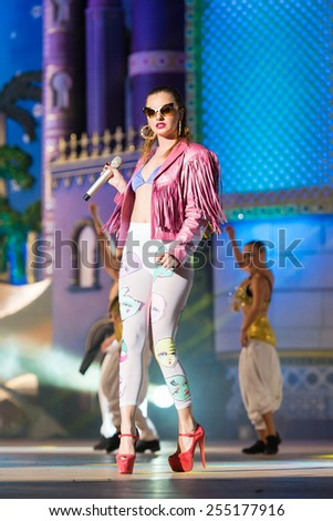 CANARY ISLAND, SPAIN - FEBRUARY 20, 2015: Model and singer Alexandra Stand from Romanian singing onstage during city of Las Palmas carnival One Thousand and One Nights Drag Queen Gala. - stock photo