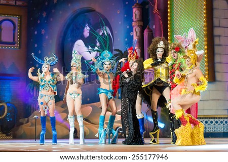 CANARY ISLAND, SPAIN - FEBRUARY 20, 2015: Pepa Charro from Madrid know as The Earthquake of Alcorcon (m) onstage with those drags who didn't got to final during city of Las Palmas Drag Queen Gala. - stock photo