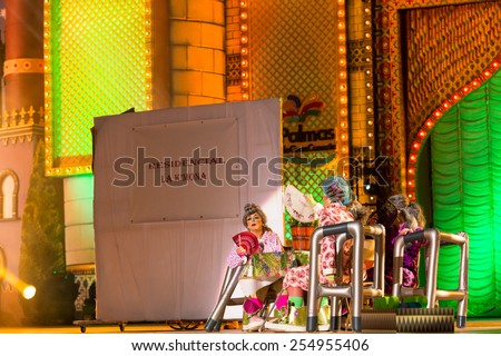 CANARY ISLAND, SPAIN - FEBRUARY 20, 2015: Unidentified assistants at a nursing home in drag La K Mona opening show performing onstage during city of Las Palmas carnival Drag Queen Gala. - stock photo