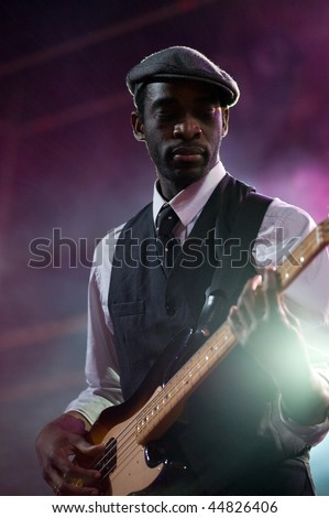 CANARY ISLANDS - NOVEMBER 14: Singer and guitarist Bibi Tanga from Paris, France performs onstage with The Selenites during the festival Womad November 14, 2009 in Canary Islands, Spain