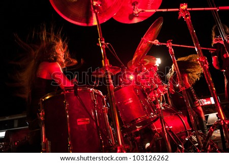 CANARY ISLANDS -SPAIN MAY 18: Alexander Santana Perez drummer in fallen Hall, from Gran Canaria, perform onstage during Condenados Rock on May 18, 2012 in Canary Islands, Spain
