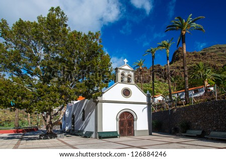 Canary style white church palm trees, Valle Gran Rey, La Gomera, Canary Islands