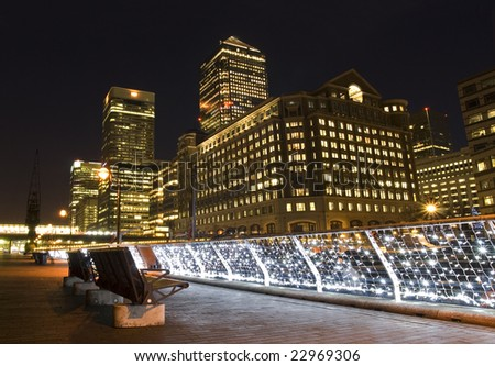 Canary Wharf area at night(London).