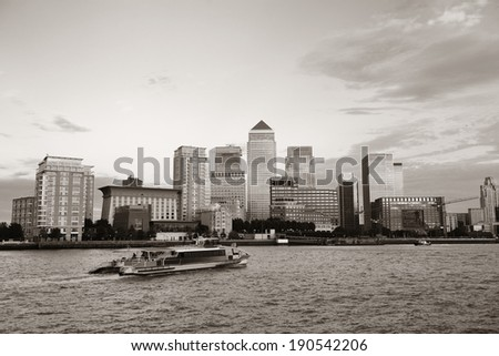 Canary Wharf business district in London black and white.  - stock photo