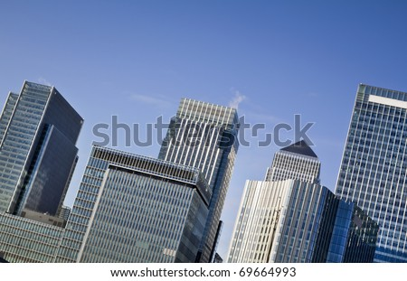 Canary Wharf, London.  This view includes: Canary Wharf Tower, Credit Suisse, Morgan Stanley, HSBC Group Head Office, Citigroup Centre, One Churchill Place(Barclays) - stock photo