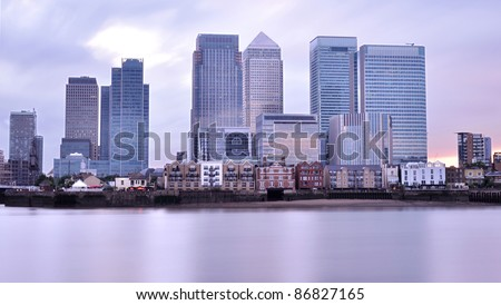 Canary Wharf sunset - stock photo