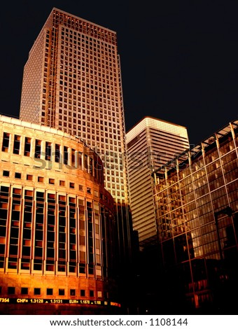 canary wharf taken at night - stock photo