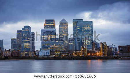 Canary Wharf, the leading financial district of London taken from Greenwich at blue hour - London, UK