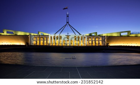 CANBERRA, AUSTRALIA SEPTEMBER 30 2014: Australia's landmark parliament house where both sides of the federal government debate future topics of the Australian nation. - stock photo