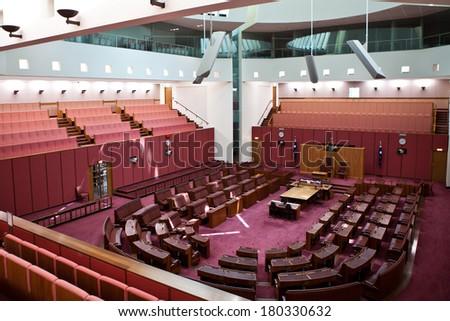 CANBERRA - DEC 12: Inside Senate, the upper house of the bicameral Parliament of Australia. December 12th, 2011 Canberra Australia  - stock photo