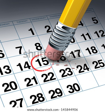 Cancel an appointment and change of schedule business concept with a pencil eraser erasing a highlighted red circle as a symbol of time management by rescheduling. - stock photo