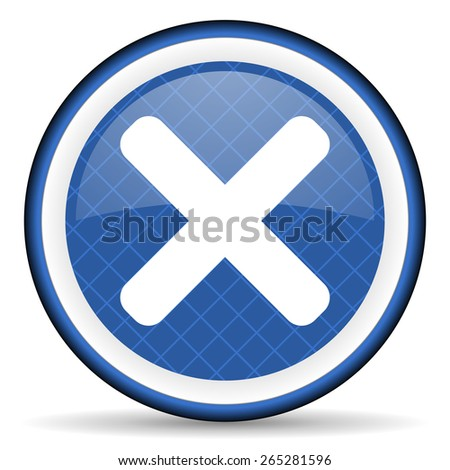 cancel blue icon x sign  - stock photo