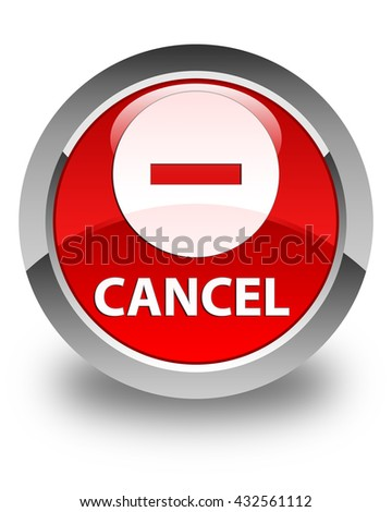 Cancel glossy red round button - stock photo