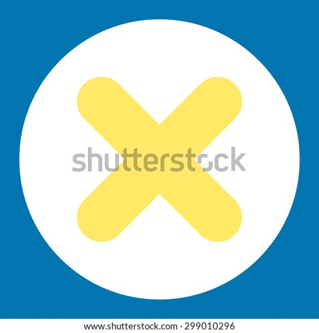 Cancel icon from Primitive Round Buttons OverColor Set. This round flat button is drawn with yellow and white colors on a blue background. - stock photo