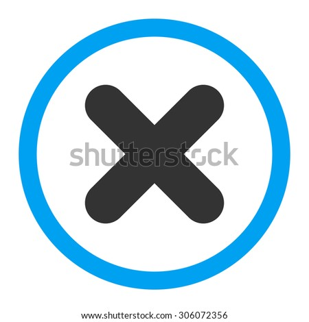 Cancel raster icon. This rounded flat symbol is drawn with blue and gray colors on a white background. - stock photo