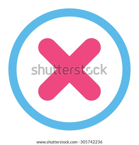 Cancel raster icon. This rounded flat symbol is drawn with pink and blue colors on a white background. - stock photo