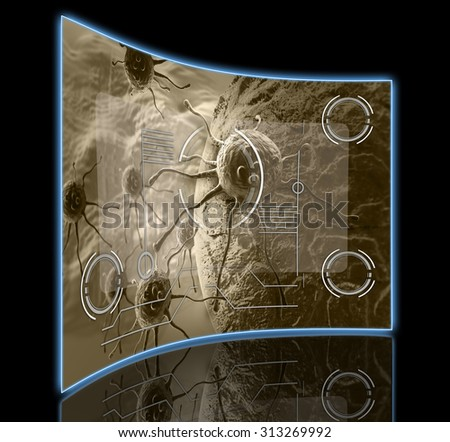 cancer cell made in 3d software - stock photo