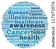 Cancer info-text graphics and arrangement concept on white background (word cloud) - stock