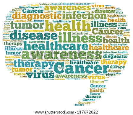 Cancer info-text graphics and arrangement concept on white background (word cloud) - stock photo