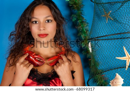 Cancer or Crab woman, this photo is part of a series of twelve Zodiac signs of astrology - stock photo