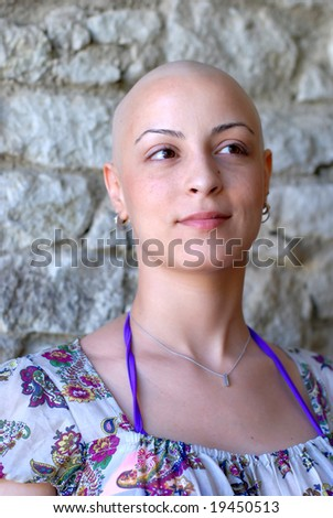 Cancer patient with positive attitude during her treatment - stock photo