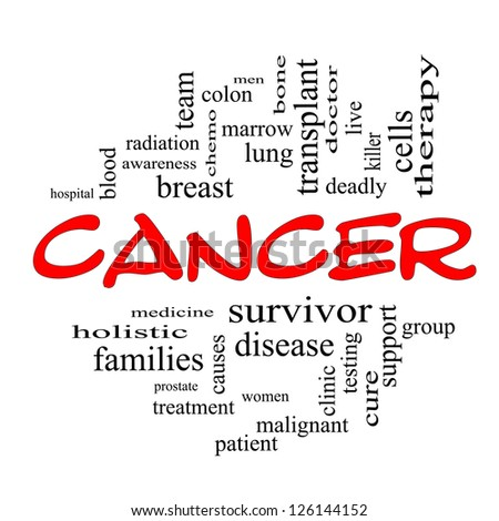 Cancer Word Cloud Concept in Red Caps with great terms such as disease, chemo, survivor, patient, doctor and more. - stock photo