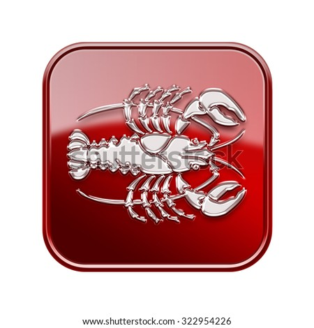 Cancer zodiac icon red, isolated on white background - stock photo