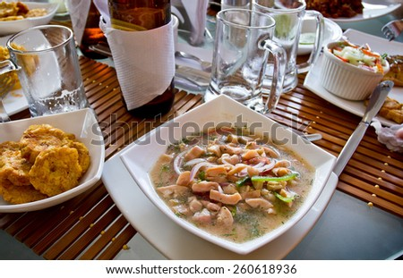 Canchalagua ceviche, magical and typical dish from the Galapagos islands, Ecuador - stock photo