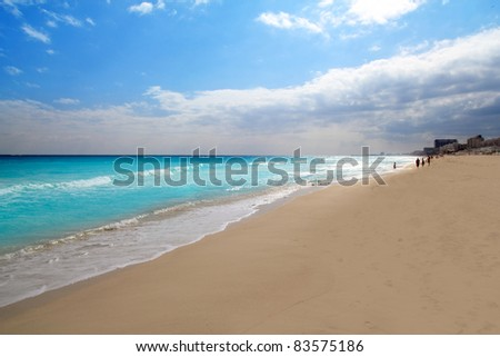 Cancun beach Caribbean sea in Mexico - stock photo